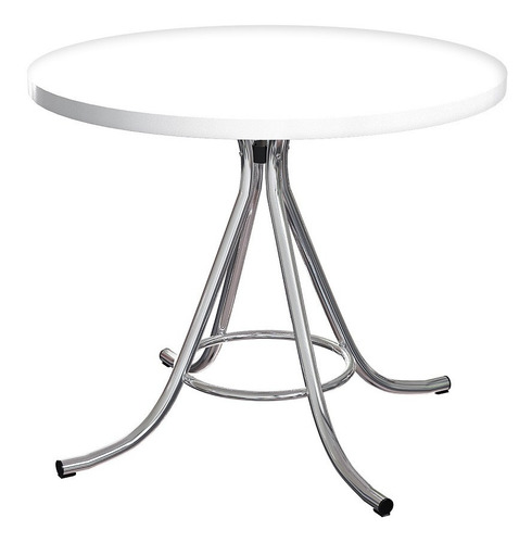 mesa de jantar redonda em formica branca/cromada brigatto