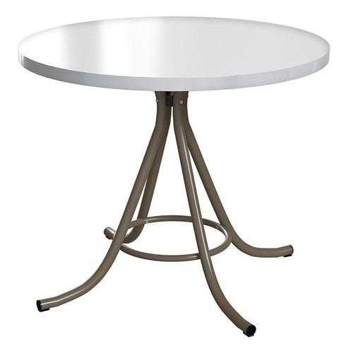 mesa de jantar redonda em formica off white/champanhe
