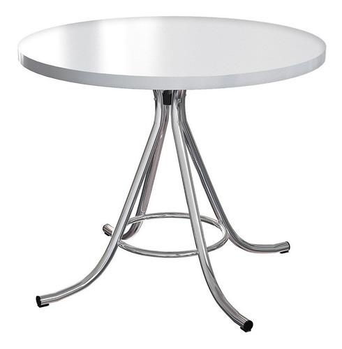 mesa de jantar redonda em formica off white/cromada brigatto