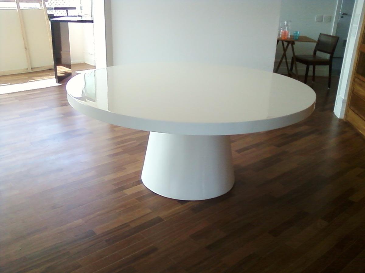 Mesa de jantar redonda em resina branca para 6 lugares r for Mesas de jardin de resina