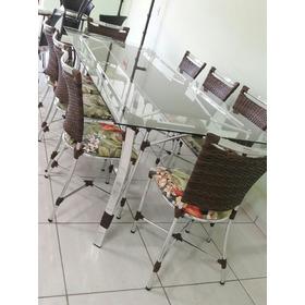 Mesa De Jantar Retangular Com 8 Cadeiras Junco Fibra Sintéti