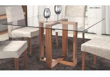 mesa de jantar styllo 1mx1m 76cmx1cm vidro- móveis rafana x