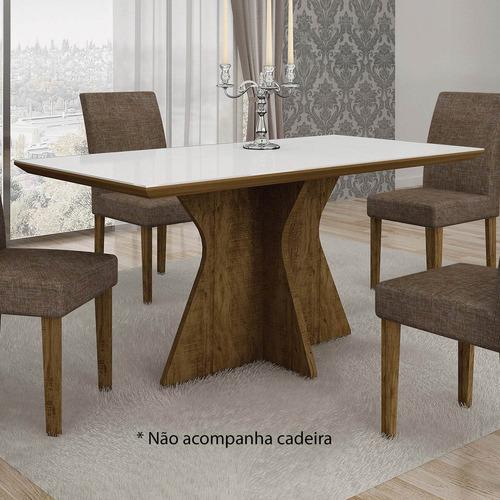mesa de jantar tampo de vidro branco 160cm creta bewt