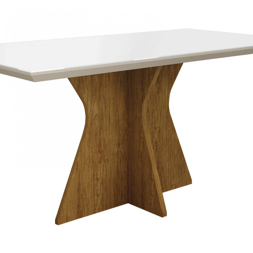 mesa de jantar tampo de vidro branco 160cm creta ce