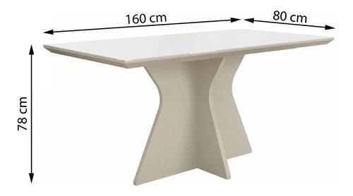 mesa de jantar tampo de vidro branco 160cm creta ch