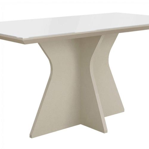 mesa de jantar tampo de vidro branco 160cm creta chwt