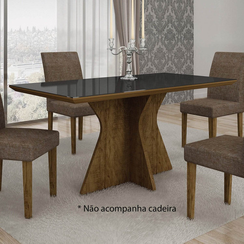 mesa de jantar tampo de vidro preto 160cm creta leifer bfwt