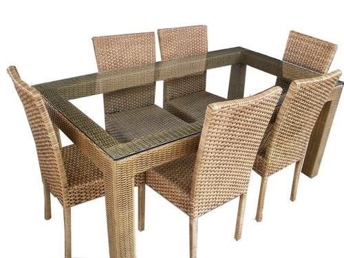 mesa de jantar vanira em junco sintético / fibra sintética
