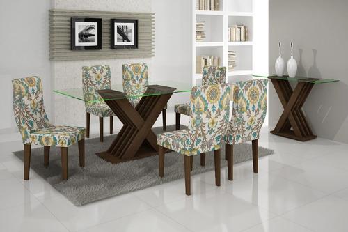 mesa de jantar verona 6 lugares tpo vidro 1,60x0,80 rufato