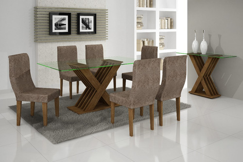 mesa de jantar verona 6 lugares tpo vidro 1,80x0,90 rufato