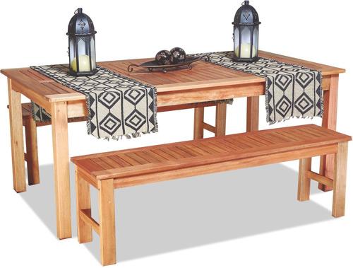 mesa de jardin con 2 bancos 8 personas exterior set iguazu