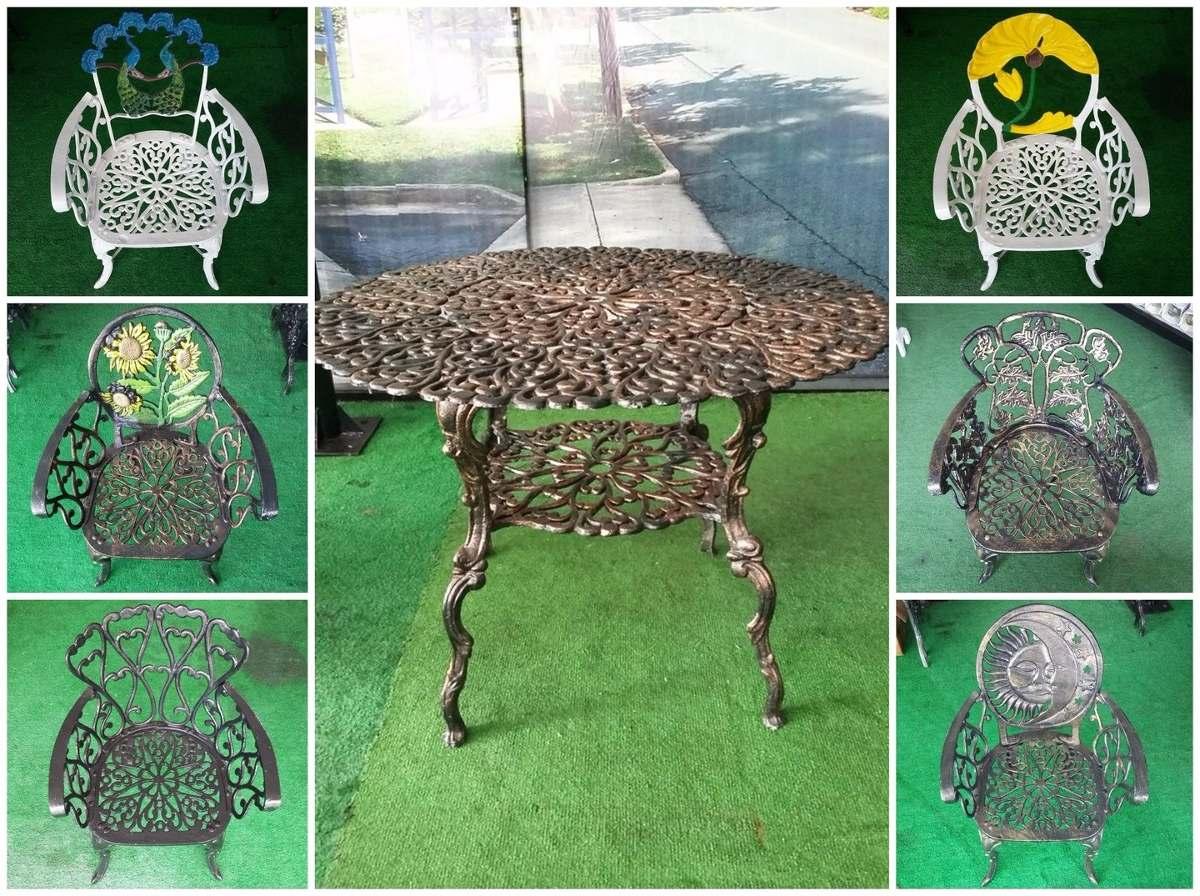 Mesa De Jardin De Aluminio Fundido Con 4 Sillas - $ 7,600.00 en ...