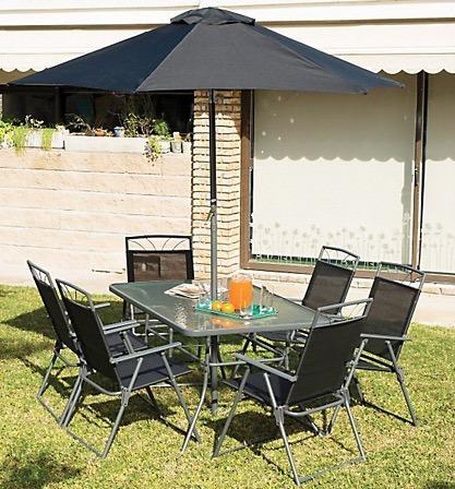 mesa de jardin exterior de hierro + plegable + sillas x 6