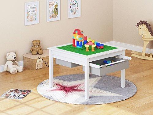 Mesa de Juegos 2 en 1 para ni/ños con cajones de Almacenamiento y Placa integrada UTEX Color Blanco