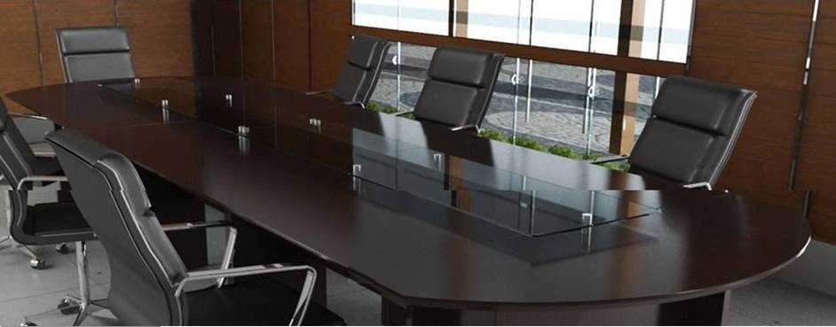 Mesa de juntas de de largo con cristal templado for Mesa oficina cristal templado