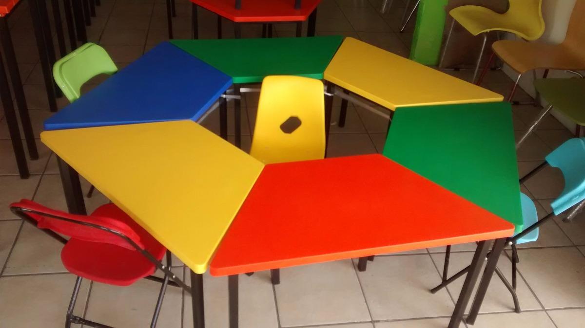 Mesa de kinder trapezoidal en mercado libre for Mesas para preescolar