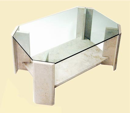 mesa de living x en marmol travertino y cristal