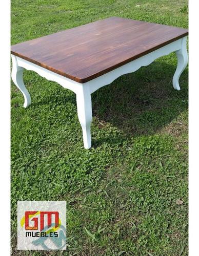 mesa de living en madera meciza luis xv