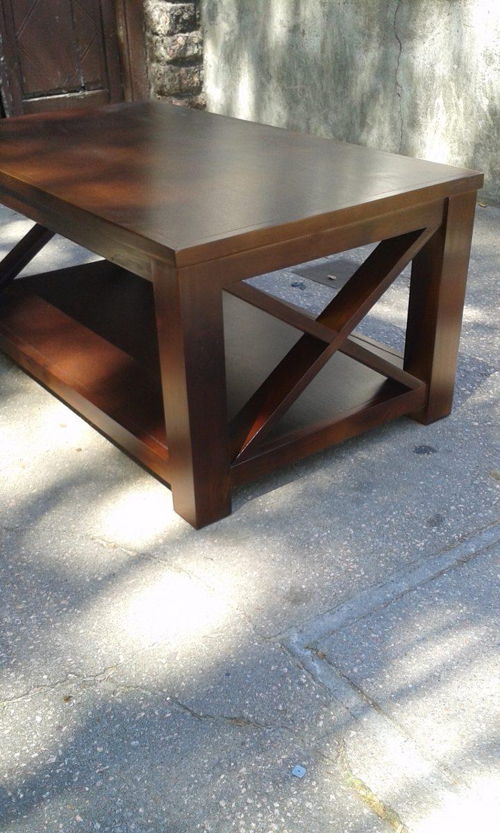 Mesa de living modelo x tapa de madera en for Mesas de living