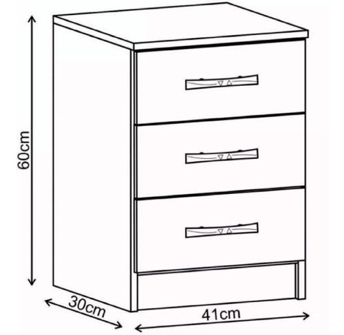 mesa de luz 3 cajones dormitorio blanco/negro cp033