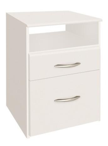 mesa de luz 962 platinum blanca 1 cajón y puerta kromo-s