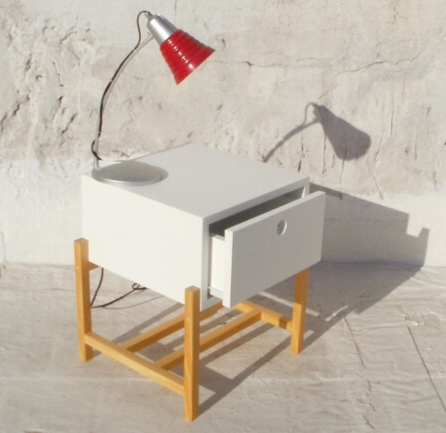 mesa de luz baja  con cajón y revistero mdf 18 mm espesor
