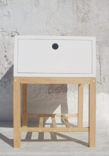 mesa de luz baja con estante revistero y cajón mdf 18 mm