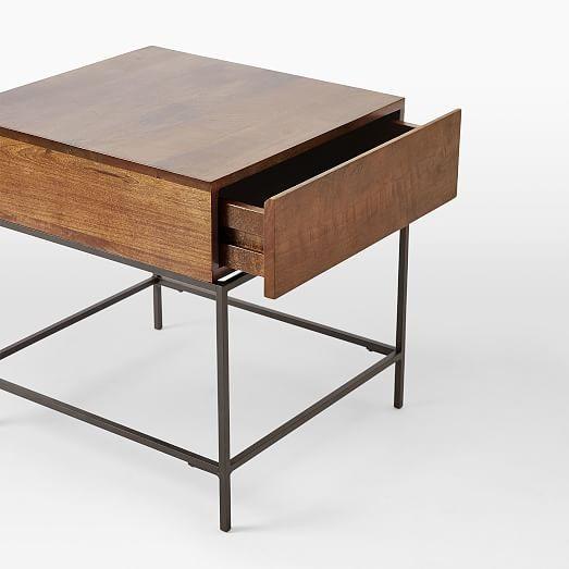 Mesa de luz con caj n madera y patas de hierro for Patas de hierro para mesas