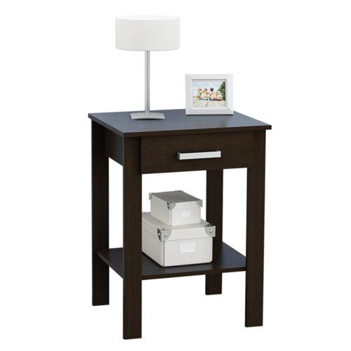 mesa de luz con cajonera y estante color wengue