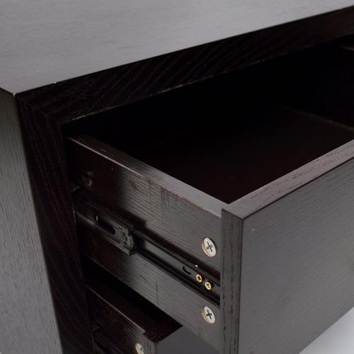 mesa de luz con cajones en madera de roble color wengue
