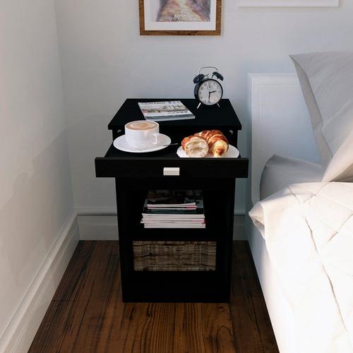 mesa de luz con desayunador centro estant blanco wengue mm