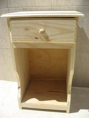 mesa de luz de pino con cajón y botinero oferta especial