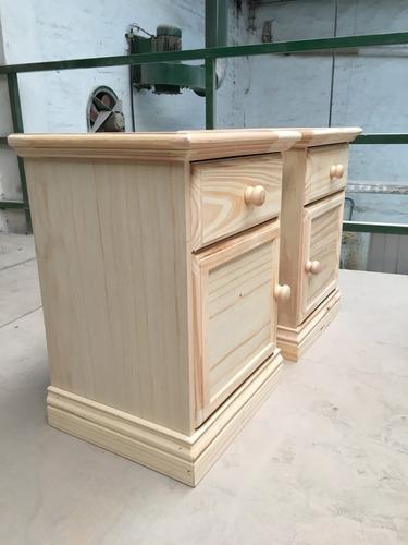 mesa de luz de pino puerta y cajn con corredera metlica
