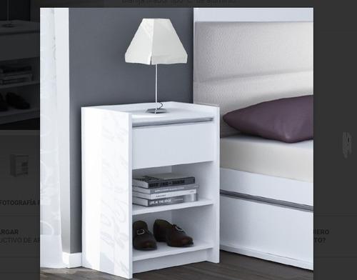 mesa de luz dml 1c 1 cajón 1 estante blanca kromo-s