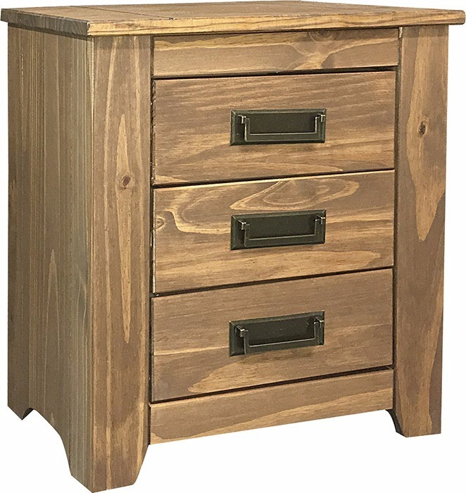 Mesa de luz en madera de pino 3 cajones dormitorio 1 - Mesa madera pino ...