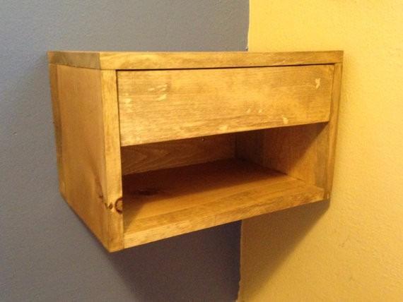 Mesa de luz flotante colgante madera maciza env os 2 for Mesa de luz flotante