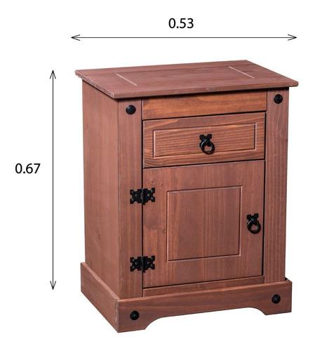 mesa de luz linea mexicana material pino 1 puerta e880