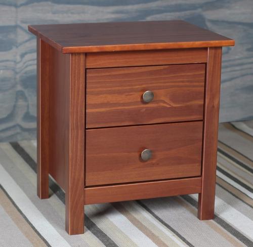 mesa de luz madera maciza 2 cajones calidad premium