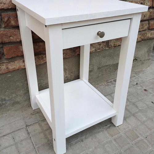 mesa de luz madera maciza blanca 1 cajon estilo nordico ch