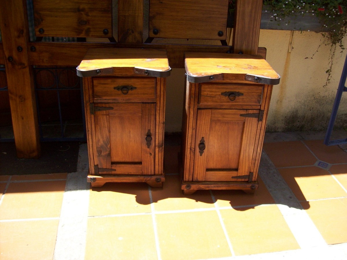 Mesa de luz madera maciza rustica cajon y pta en mercado libre - Mesa de madera maciza ...