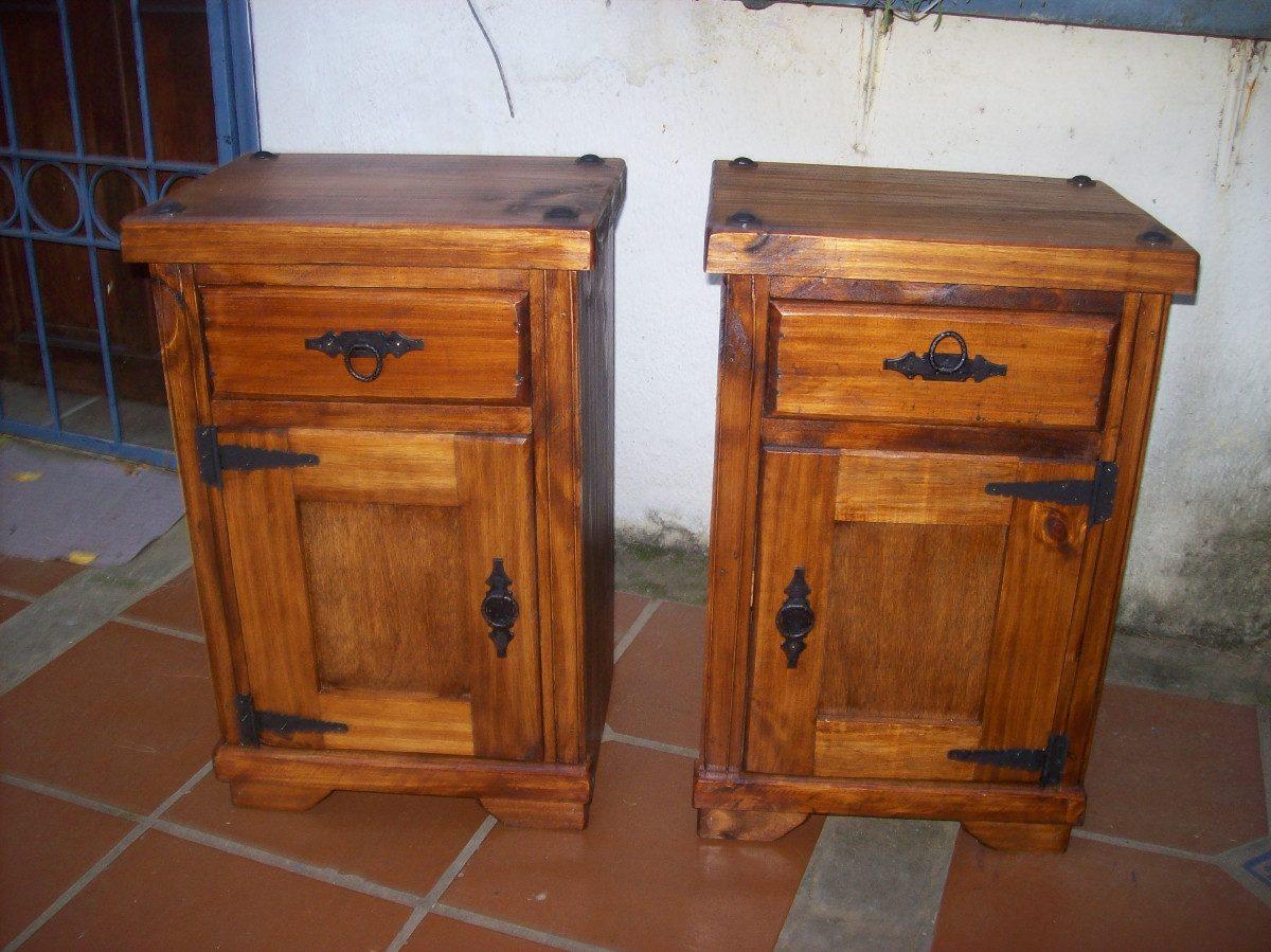 Mesa de luz madera maciza rustica pta y cajon for Mesa madera maciza rustica