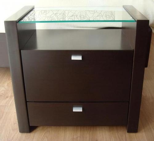 mesa de luz mesita cajon laqueado madera moderna minimalista