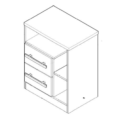 mesa de luz orlandi 2 cajones reversibles 53x67x35cm