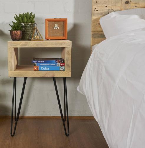 mesa de luz rustica hierro y madera para toda la vida varias