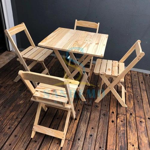 mesa de madeira com 4 cadeira dobrável sem pintura para bar!