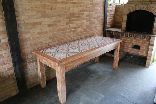 mesa de madeira de demolição 2 metros porcelanato ladrilho