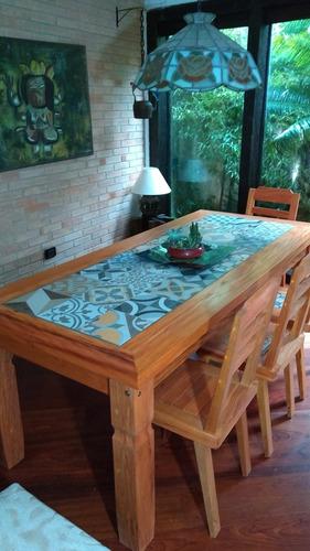 mesa de madeira de demolição 2.5  porcelanato ladrilho