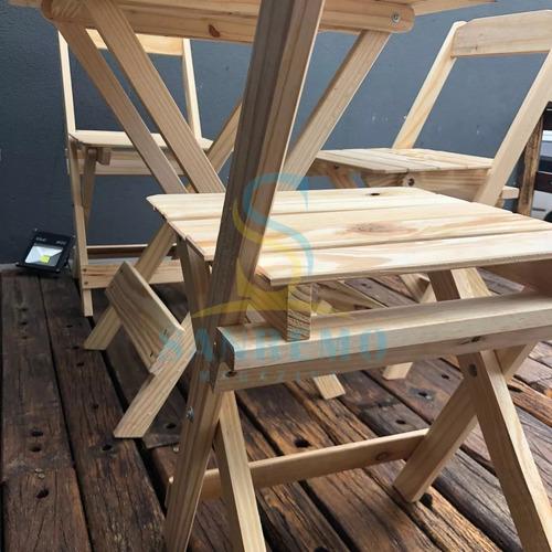 mesa de madeira dobrável para bar com 4 cadeira sem pintura