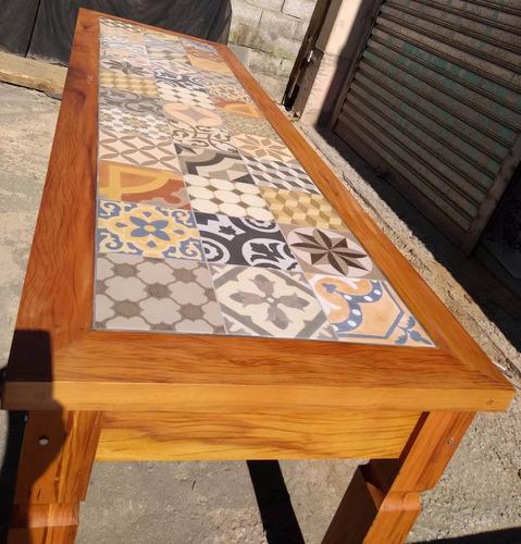 mesa de madeira mesa de madeira 3.0  porcelanato ladrilho