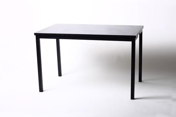 Mesa de madera acero negro escritorio moderna minimalista for Mesa escritorio moderna